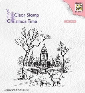 CT027 Nellie Snellen Clearstamps Christmas Time Church and deer-0