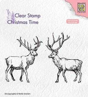 CT028 Nellie Snellen Clearstamps Christmas Time, Two reindeer-0