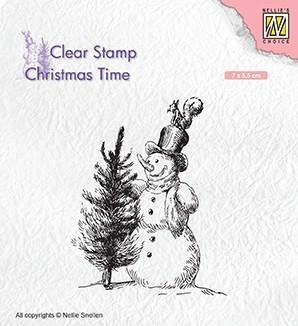 CT029 Nellie Snellen Clearstamps Christmas Time, Snowman with tree-0
