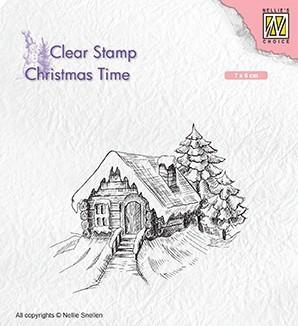 CT030 Nellie Snellen Clearstamps Christmas Cosily snowy cottage-0