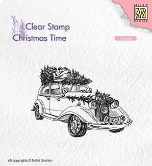 CT031 Nellie Snellen Clearstamps Christmas Time, Christmas tree transport-0