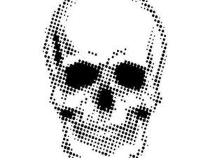 CEASTEN003 Creative Expressions Andy Skinner Stencils, Half Tone Skull-0