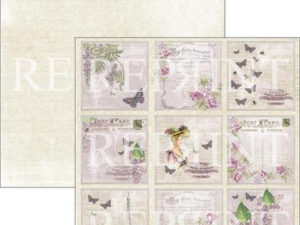 RP0270 Reprint Designpaper 30x30, Lilac Paris Collection, Lilac Tags 1-0