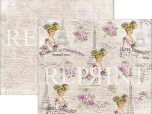 RP0273 Reprint Designpaper 30x30, Lilac Paris Collection, French Lady-0
