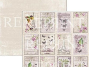 RP0276 Reprint Designpaper 30x30, Lilac Paris Collection, Lilac Tags 2-0