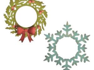 664210 Sizzix Die Tim Holtz Thinlits, Wreath & Snowflake-0