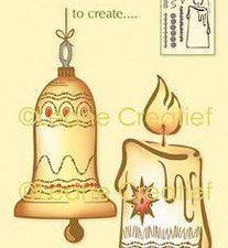 55.6050 Leane Creatief stempel/clearstamp Christmas Bell & Candle-0