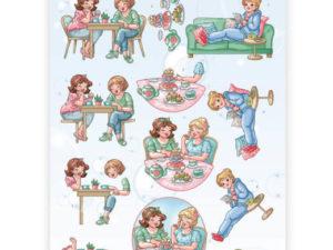CD11308 Yvonne Design 3D 1 ark Bubbly Girls, Kaffe-0