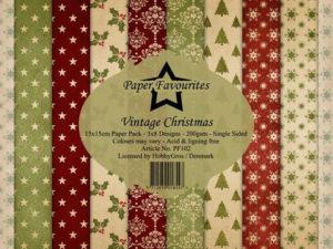 PF102 Paper Favourites, Papirsblok 15x15, Vintage Christmas-0