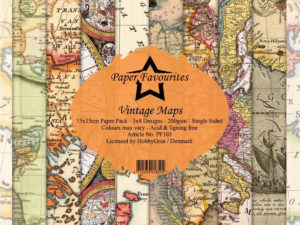PF103 Paper Favourites, Papirsblok 15x15, Vintage Maps-0
