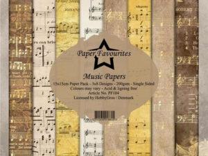 PF104 Paper Favourites, Papirsblok 15x15, Music Papers-0