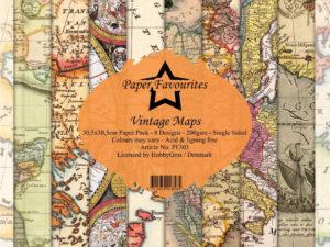 PF303 Paper Favourites, Papirsblok 30x30, Vintage Maps-0