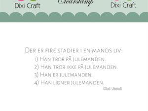 """Stampl101 Dixi Craft Clearstamp, Dansk tekst """"DER ER FIRE STADIER I EN MANDS LIV..................... """"-0"""