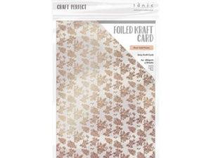 9349E Tonic Studios Foiled Kraft Card, Grey Kraft Card, Rose Gold Posies-0