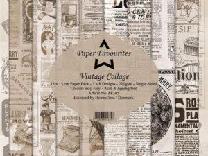 PF105 Paper Favourites, Papirsblok 15x15, Vintage Collage-0