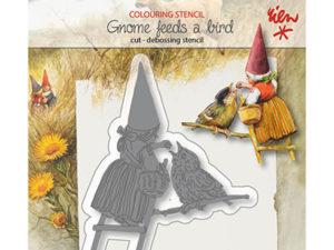 6002/1371 JOY Die Cut/Debossing, Gnome with a bird-0